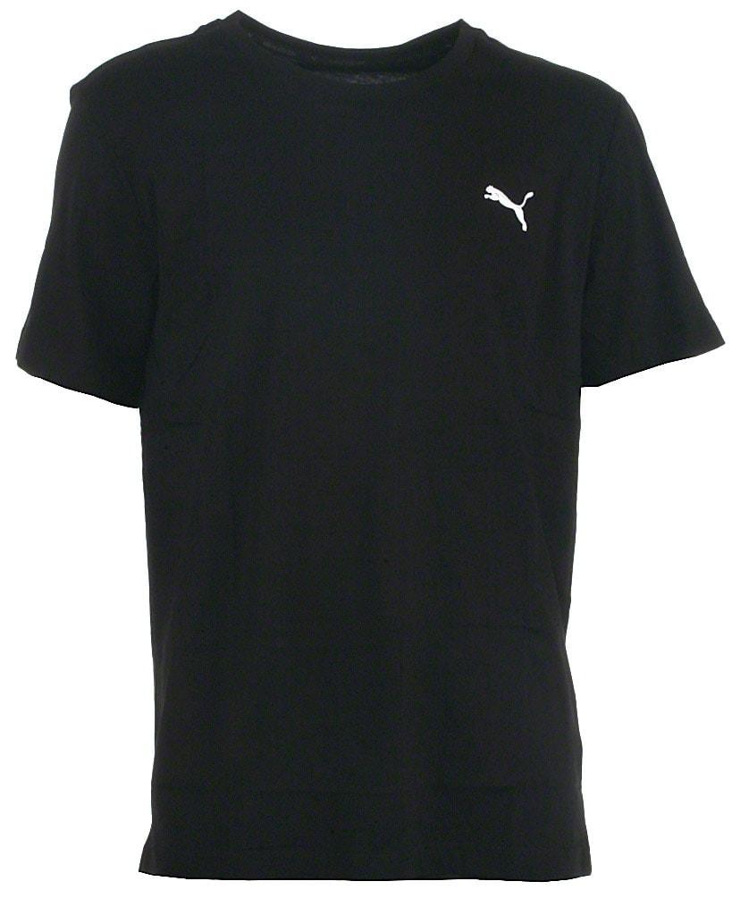 Puma t-shirt s/s, sort, Ess no. 1, hvidt logo